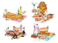 Иллюстрации для фудкорта Меги.