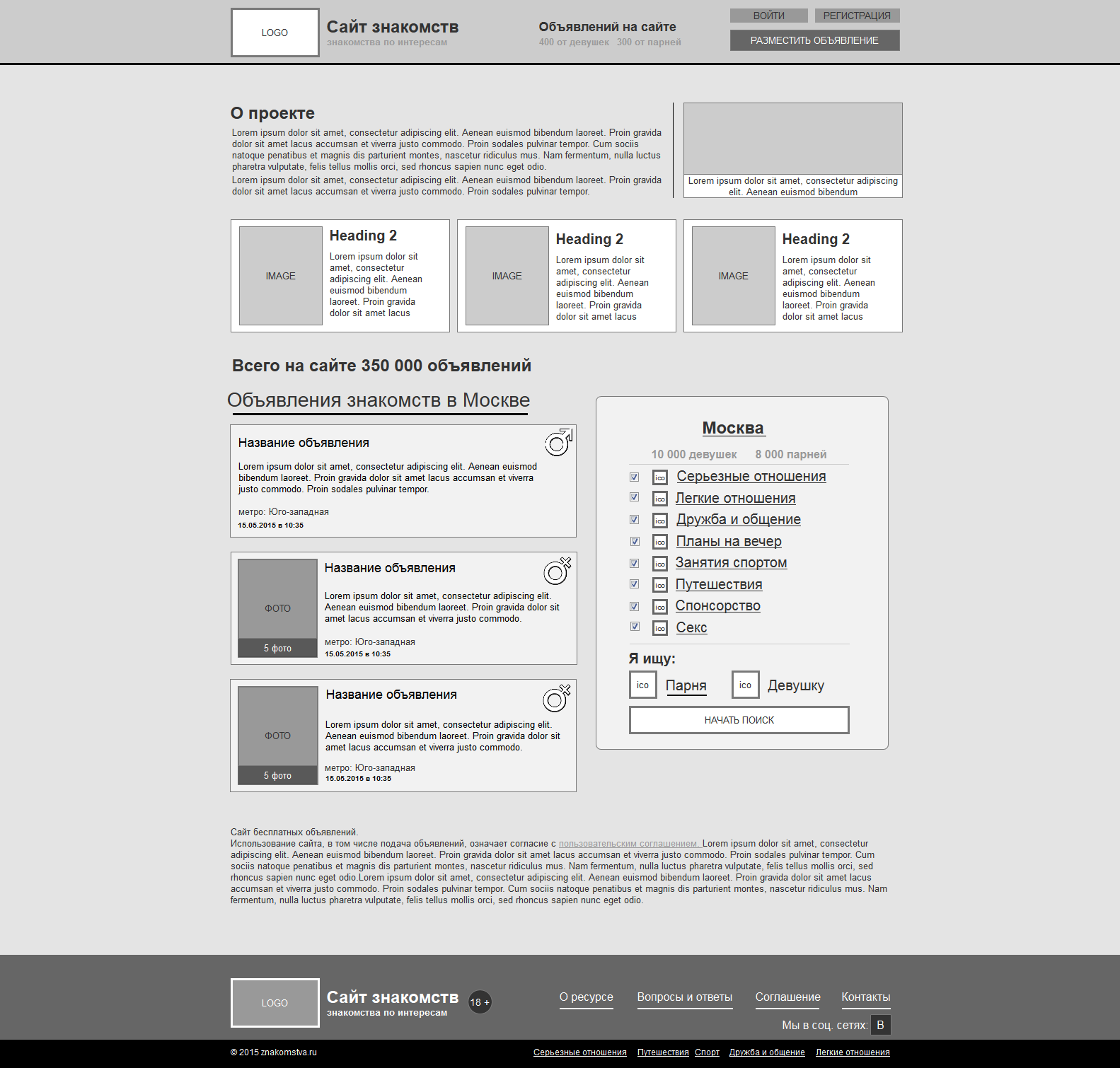 Разработка полного прототипа по прототипу мобильной версии сайта знакомств