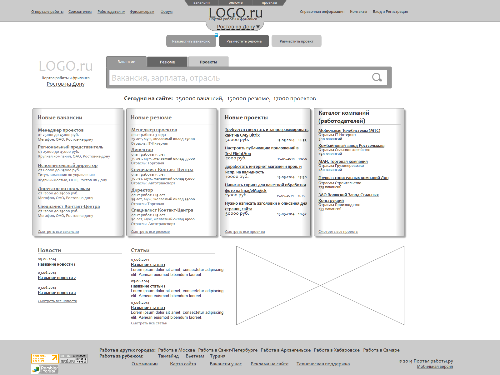 Прототип для сайта работы и фриланса