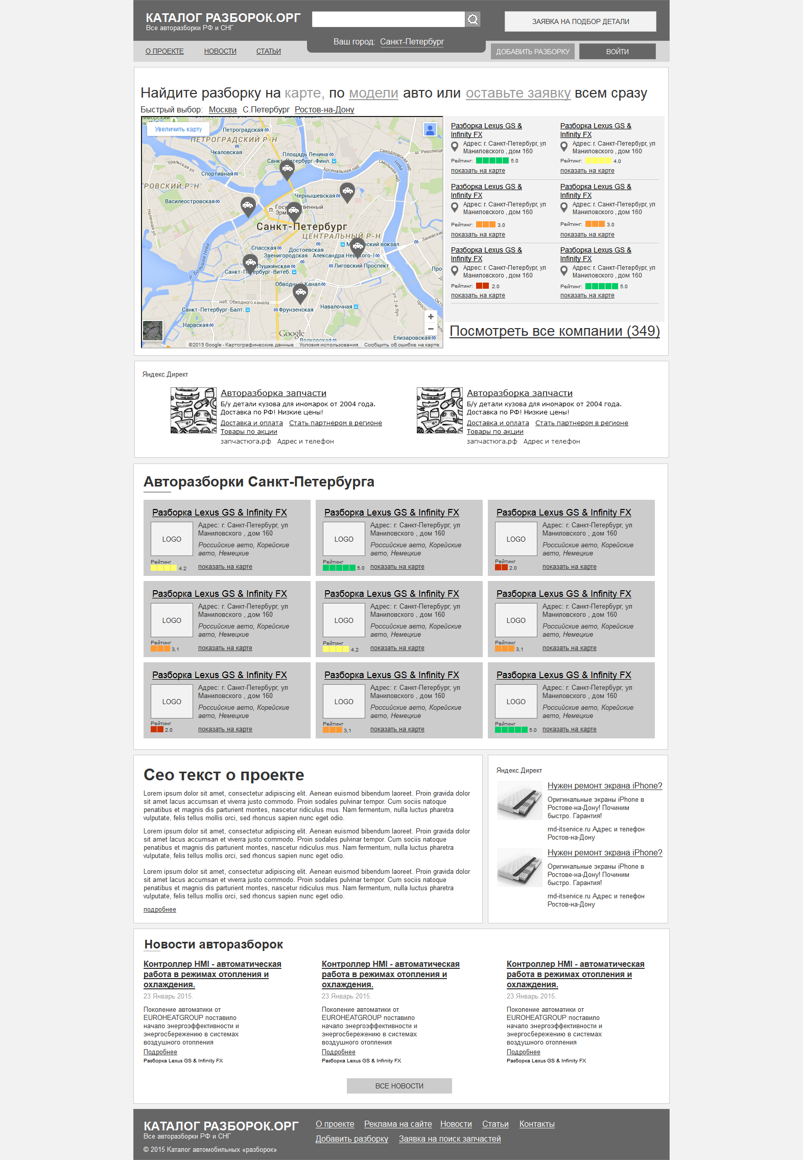 Полный прототип и ТЗ для сайта аналога http://avtorazborki.org/