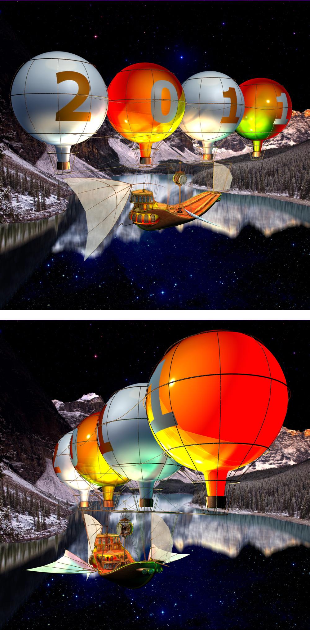 Модель воздушного корабля для анимированной новогодней открытки