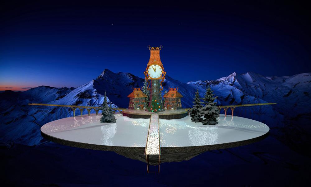 Модель летающего острова для анимированной новогодней открытки