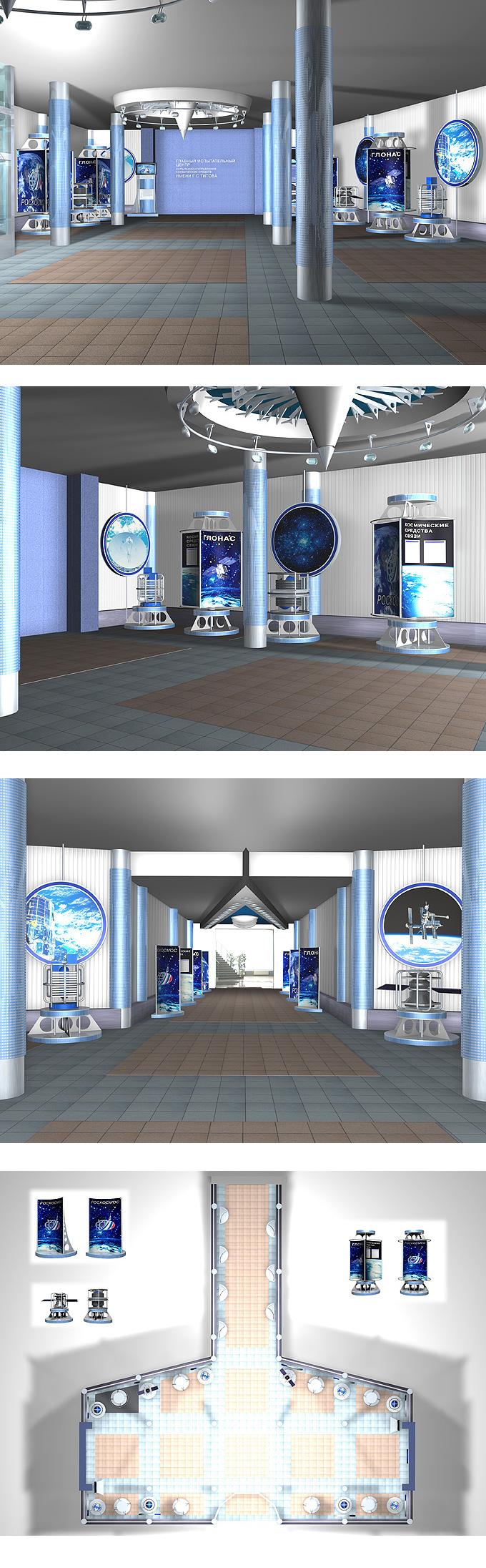 """Дизайн оформления выставочного холла для компании """"Роскосмос"""""""