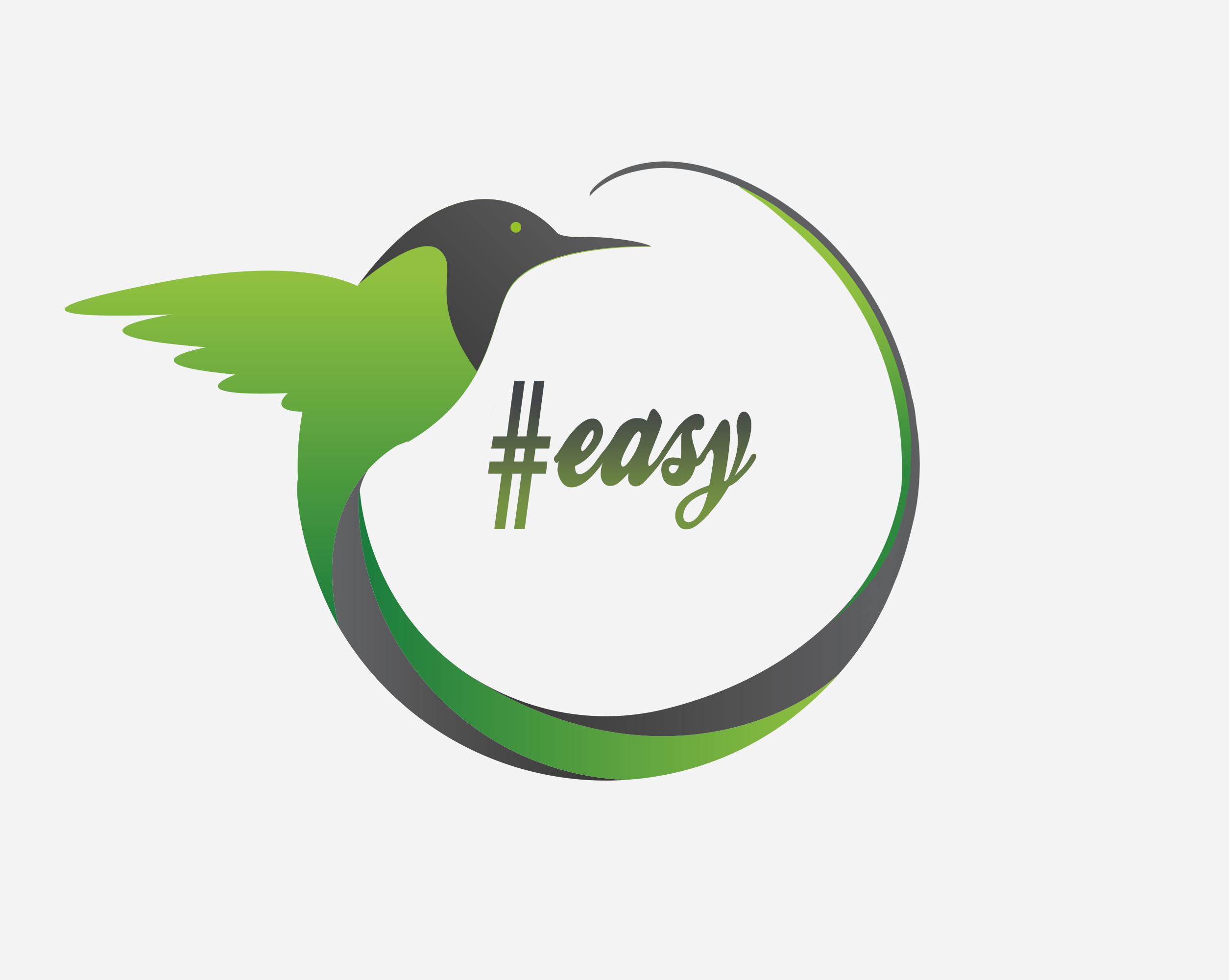 Разработка логотипа в виде хэштега #easy с зеленой колибри  фото f_0445d4d76e65d3de.png