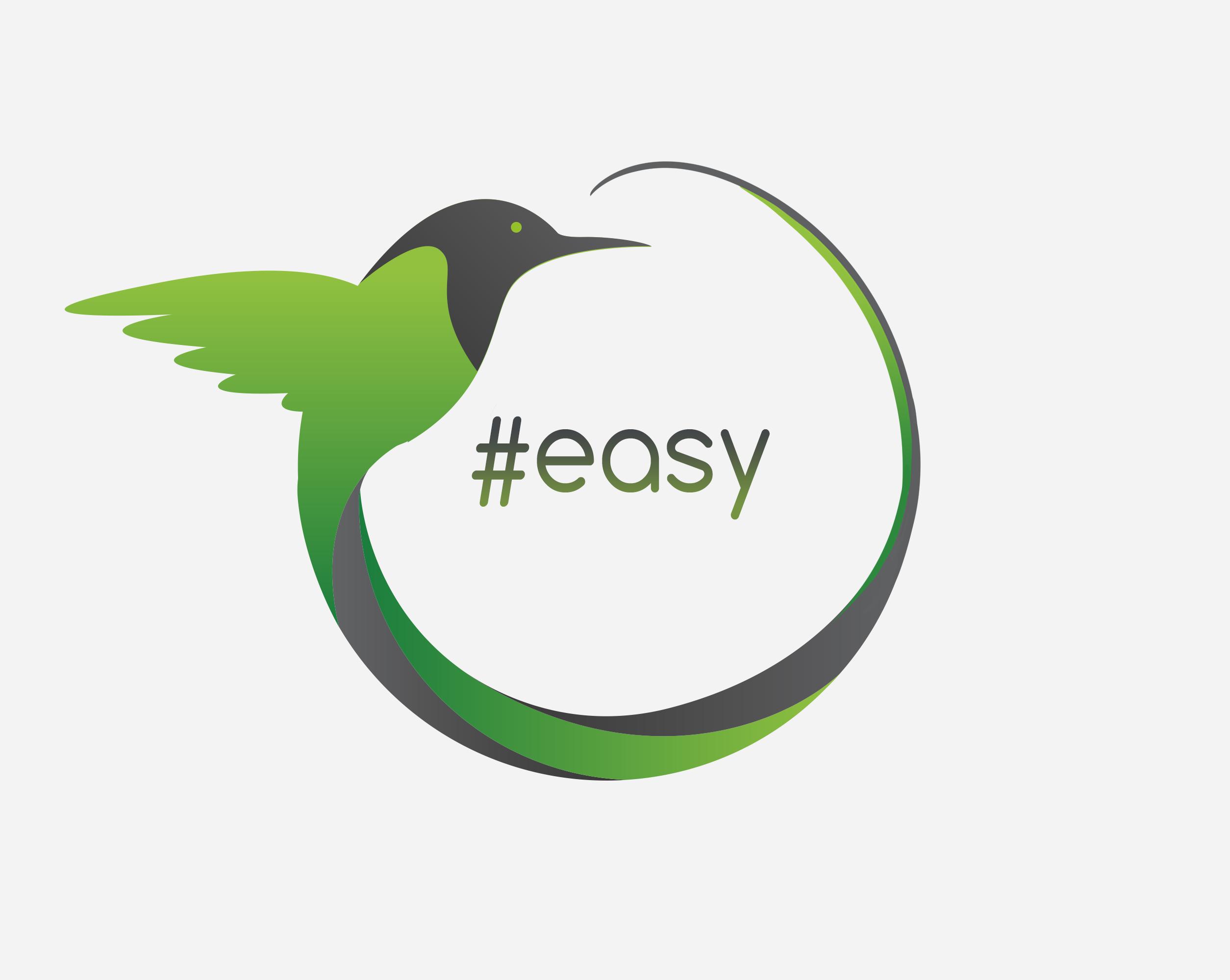 Разработка логотипа в виде хэштега #easy с зеленой колибри  фото f_1375d4d76d14673b.png