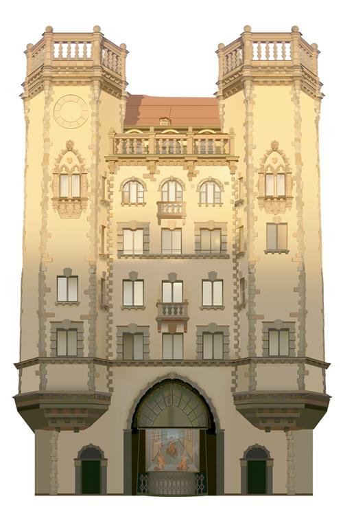 Отрисовка здания на Петроградке (учебная работа)