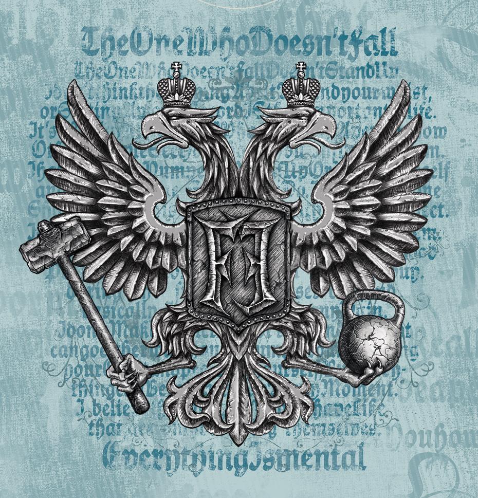 Принт для футболки двуглавый орел ММА