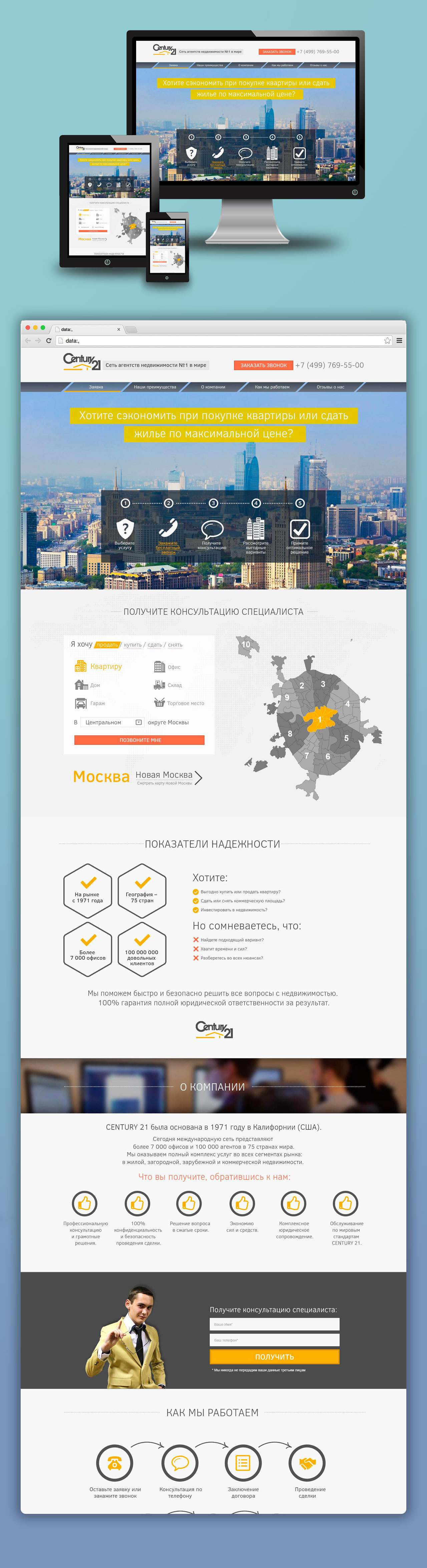 Дизайн Landing Page для агентства по сделкам с недвижимостью Century21
