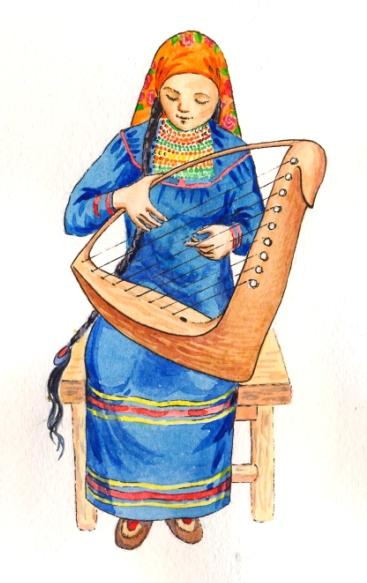 """Девушка играющая на """"лебеде"""""""