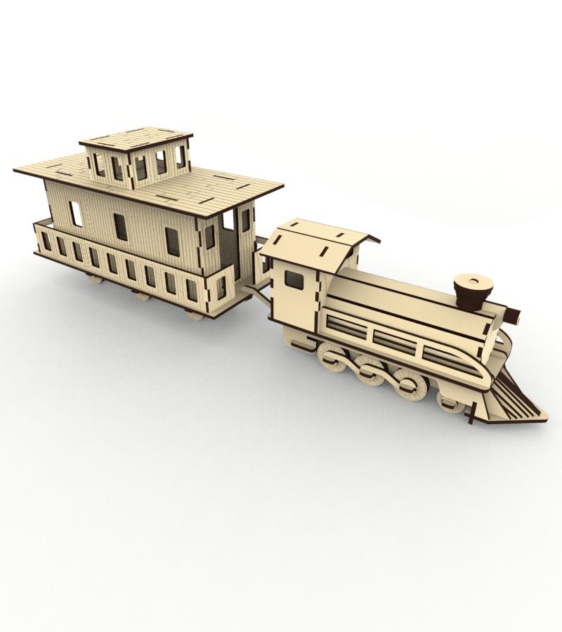 Паровоз. Изготовление 2D макета под резку и моделирование 3D