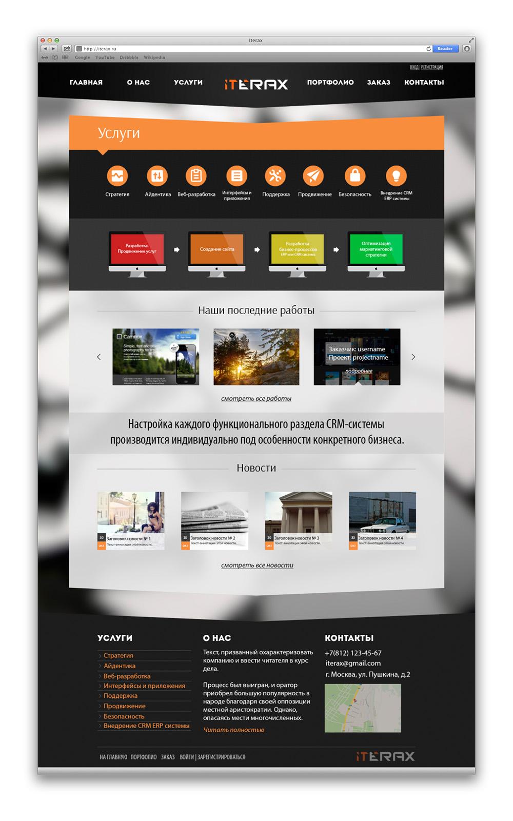 Iterax – дизайн для сайта компании