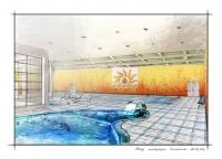 Интерьер бассейна в спортивном комплексе