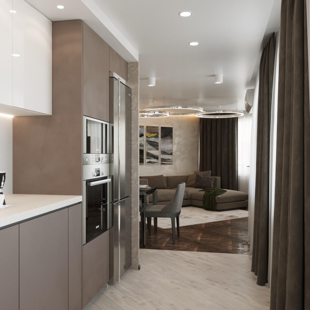 3-х комнатная квартира Современный стиль (Гостиная)