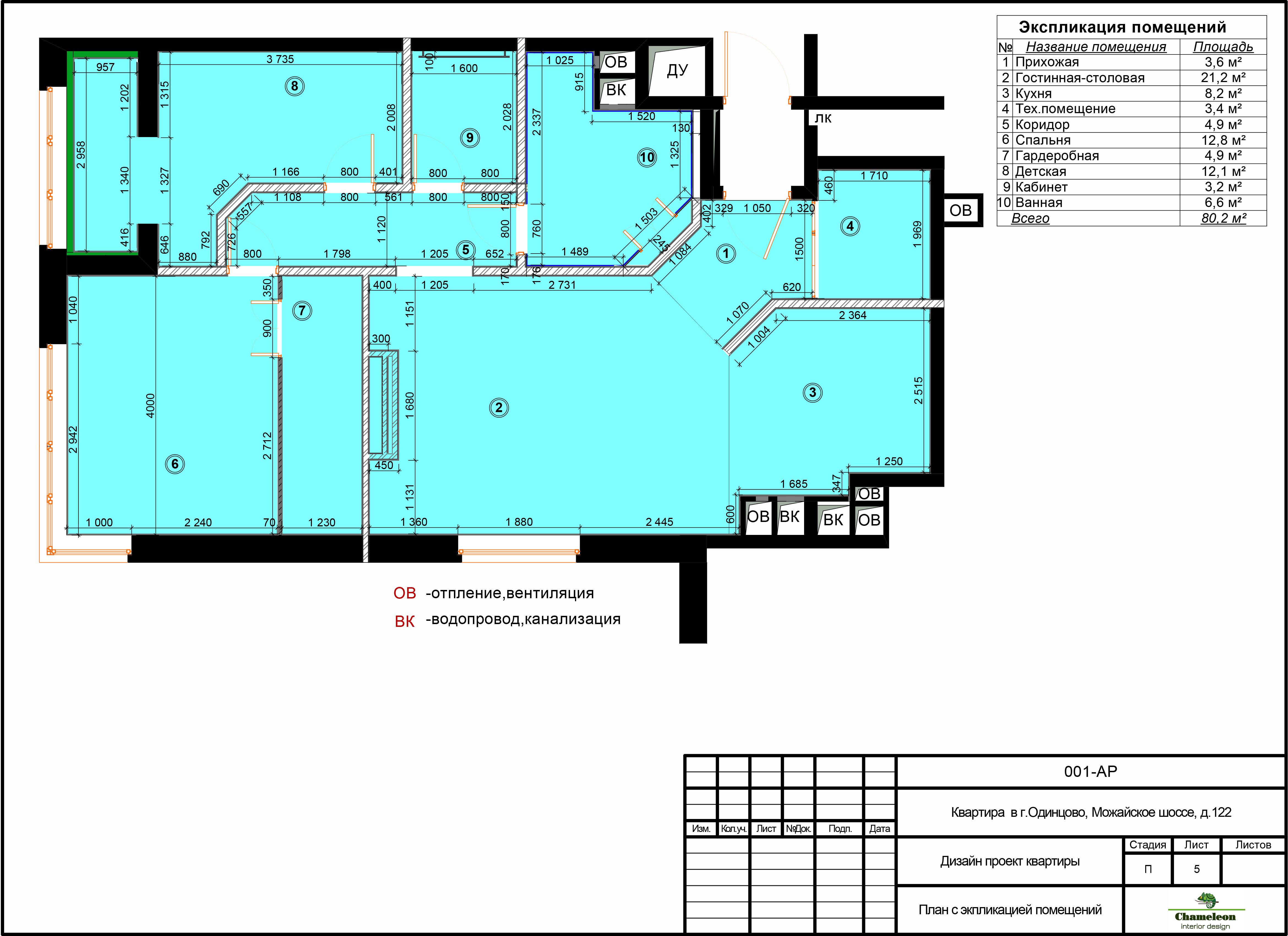 Пример чертежей /5 план с экспликацией помещений