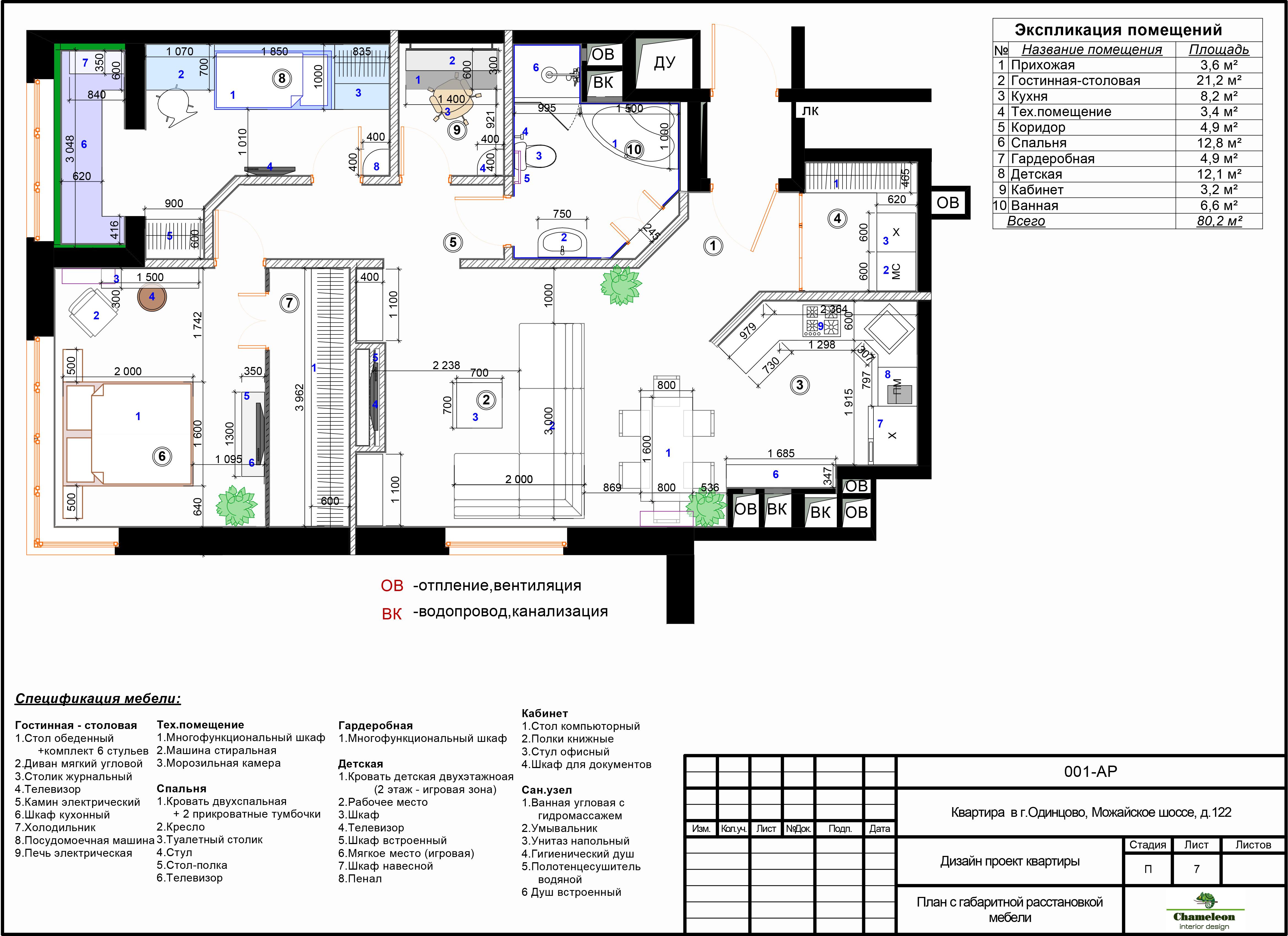 Пример чертежей /7 план с габаритной расстановкой мебели