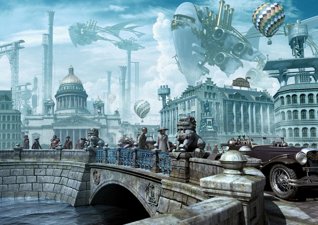Стим-панк иллюстрация 3d иллюстрация для водки Ять