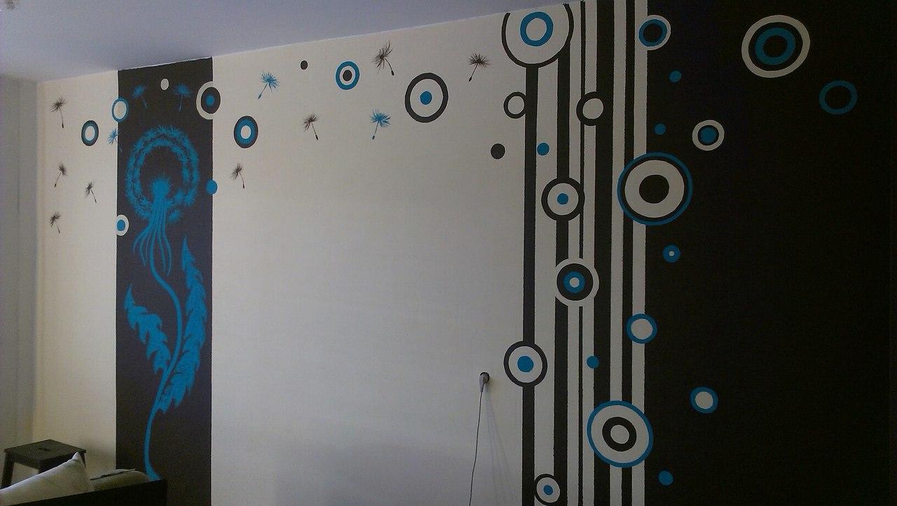 Роспись стен в комнате