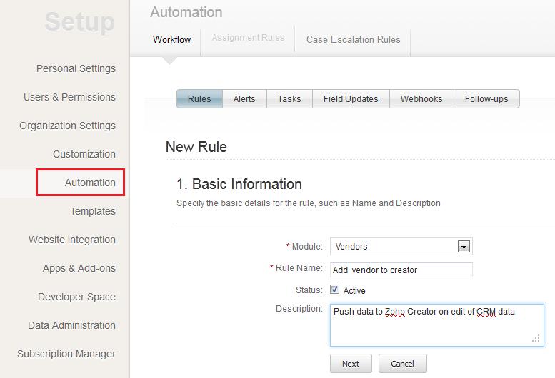 Zoho CRM автоматизация Workflow Webhooks