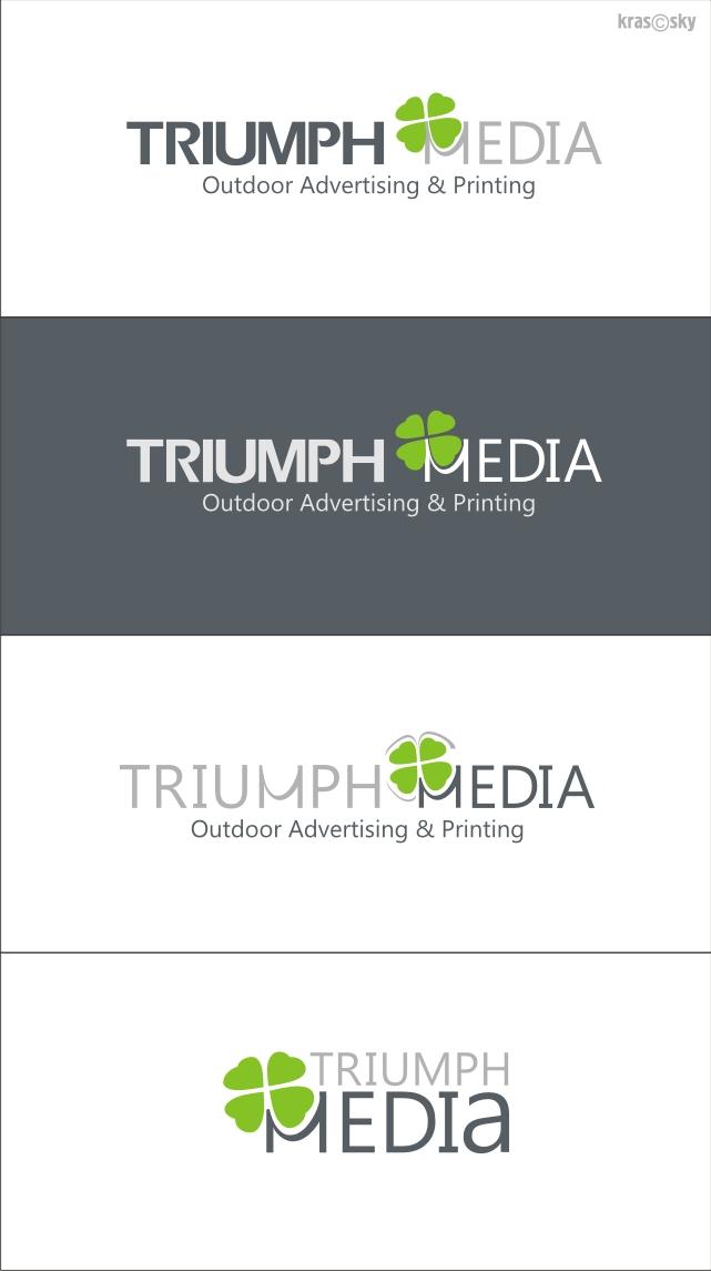 Разработка логотипа  TRIUMPH MEDIA с изображением клевера фото f_5071a0dd335e8.jpg