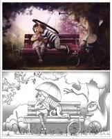 Детская раскраска с использованием теней