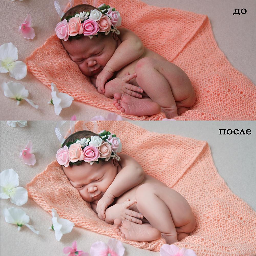 Новорожденный. Обработка, ретушь кожи