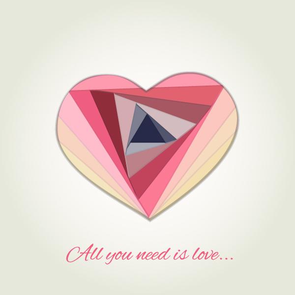 "Открытка ""All you need is love"", стилизация под технику айрис-фолдинг"
