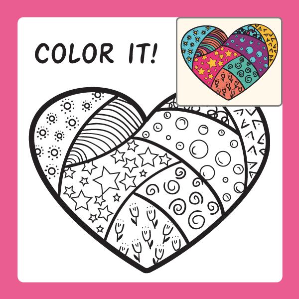 "Раскраска ""Сердце"" для развития креативности у детей"