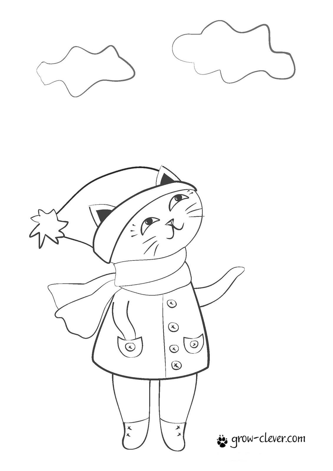 """Раскраска """"Кошка в пальто"""""""