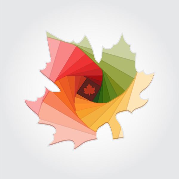 Осенний лист, стилизация под технику айрис-фолдинг