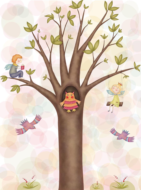 """Растровая иллюстрация """"Дерево, сова, феи"""" для детского  садика"""