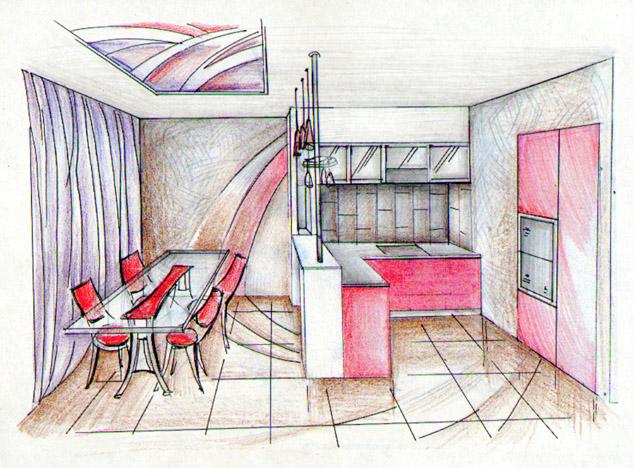 Квартира 2006. Кухня-столовая. Эскиз.
