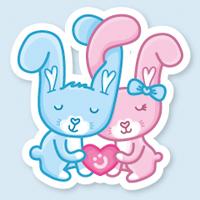 Персонажи-стикеры Влюбленные зайчики
