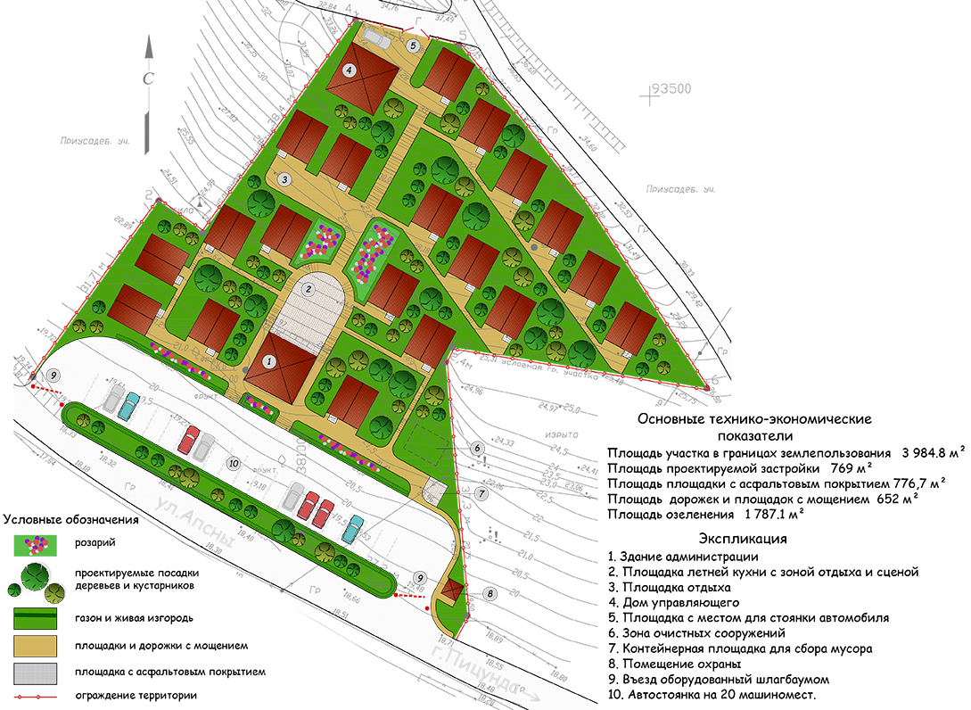 Эскизная планировка участка. Кемпинг в Абхазии