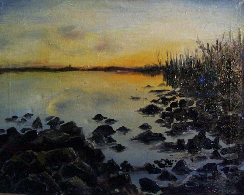 Пейзаж закат на озере