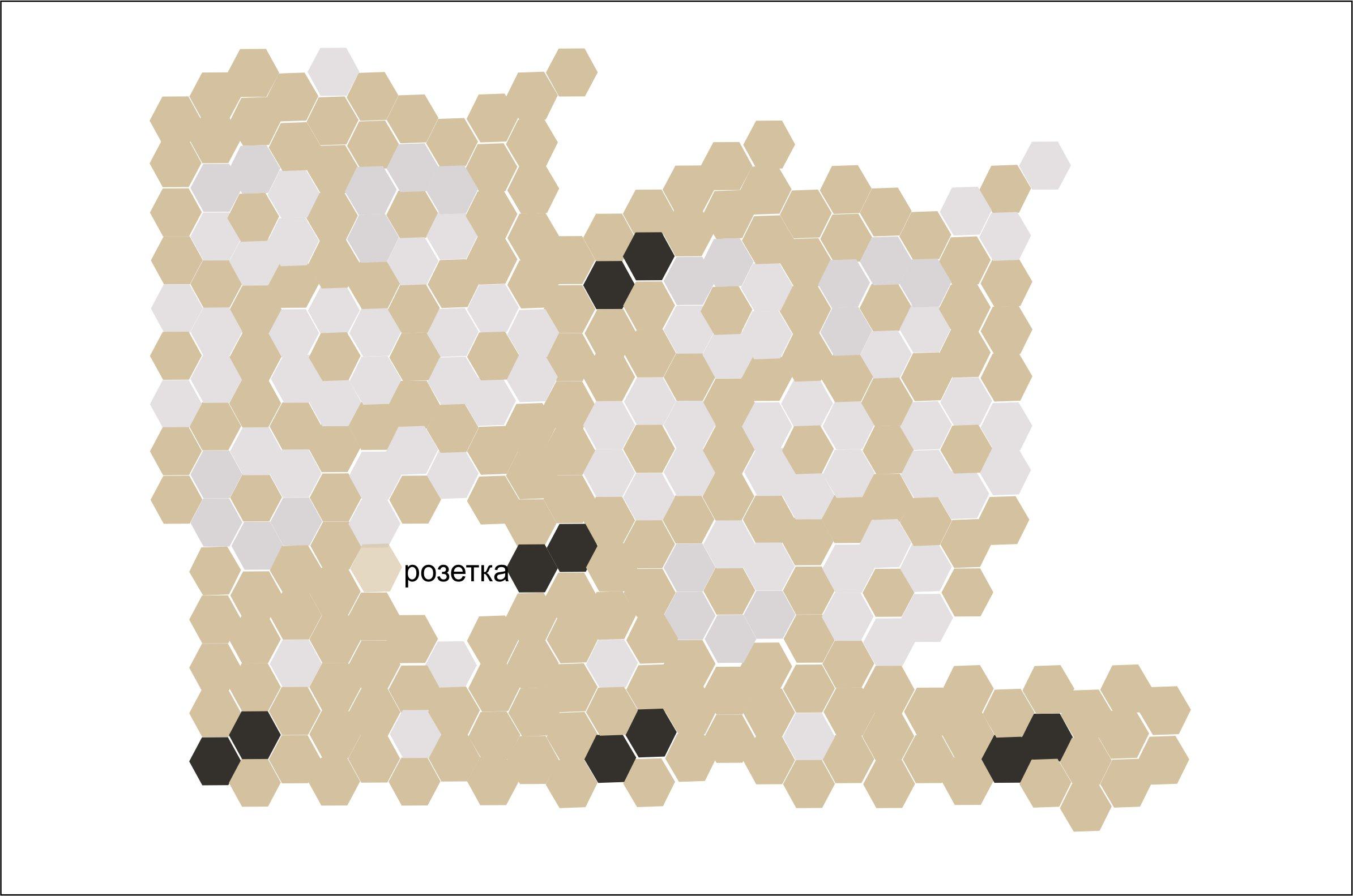 Дизайн кухонного фартука гексагональным пиксель-артом фото f_9885e2b59d2cb7a0.jpg