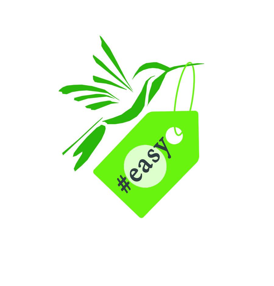 Разработка логотипа в виде хэштега #easy с зеленой колибри  фото f_0865d50053c13184.jpg