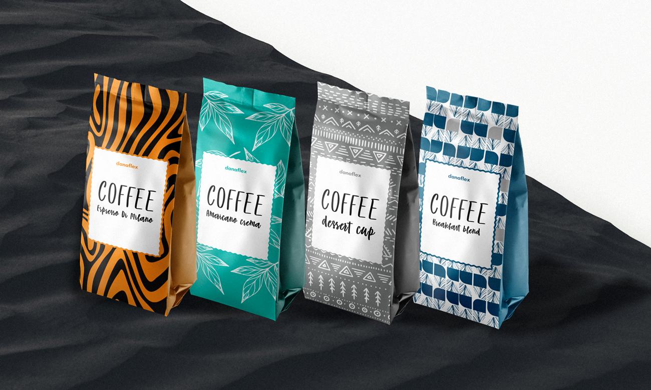 Концепт дизайна упаковок 4-х кофейных пакетов