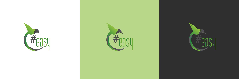 Разработка логотипа в виде хэштега #easy с зеленой колибри  фото f_5735d4e978327a85.jpg