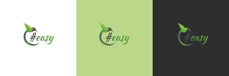 Разработка логотипа в виде хэштега #easy с зеленой колибри  фото f_6525d4e978594d0c.jpg