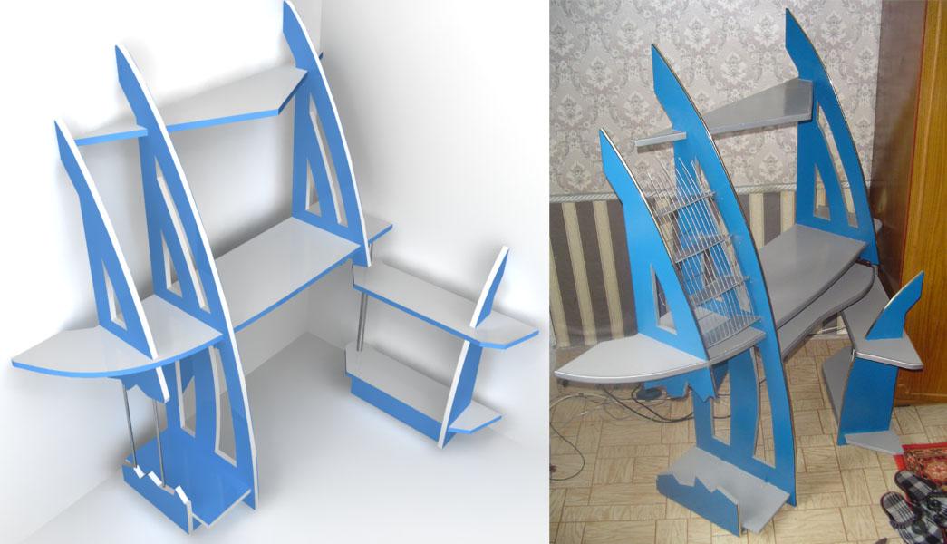 Дизайн компьютерного стола. Реализовано