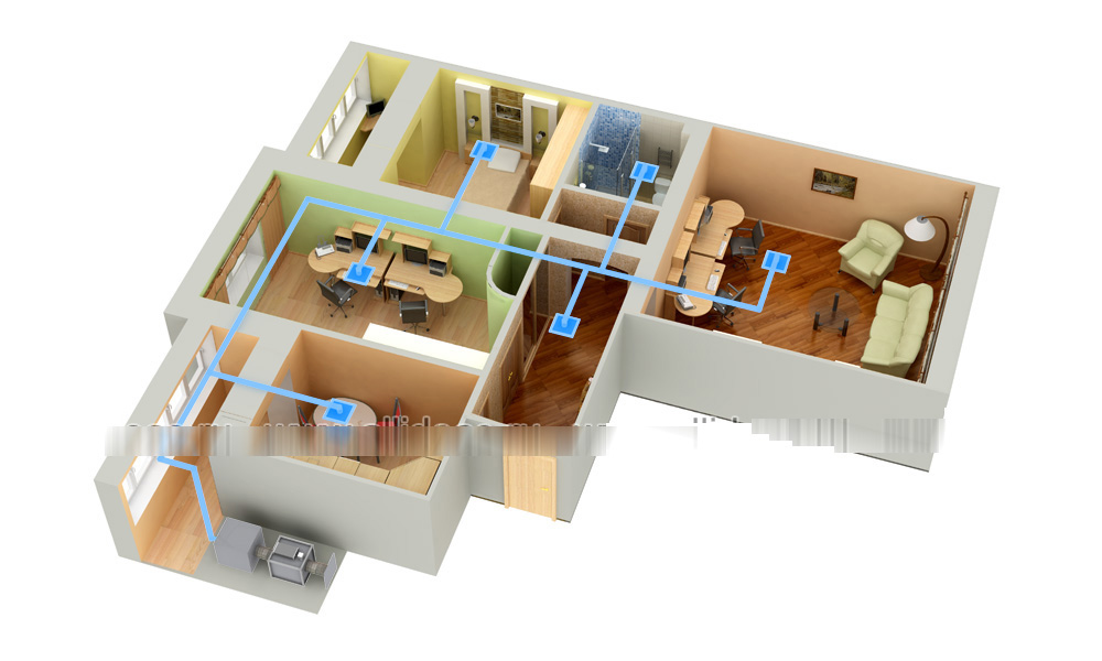 3D планировка с системой вентиляции