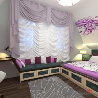 Спальня девочки. Французские (австрийские) шторы. Кровать в подиуме, перетекающем в стол