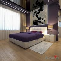 Спальня. Черный глянцевый потолок. Картина с подсветкой.