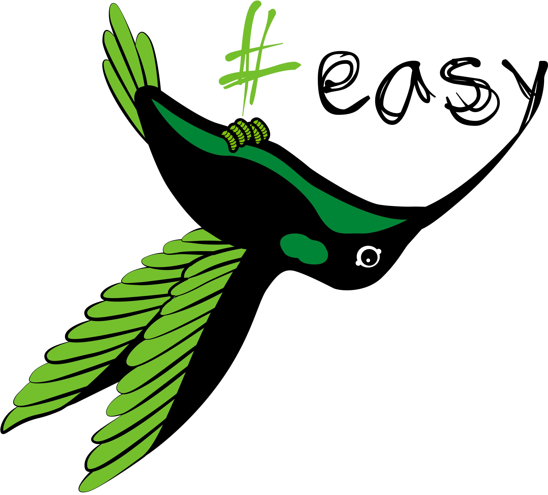 Разработка логотипа в виде хэштега #easy с зеленой колибри  фото f_2105d4db5f446628.jpg