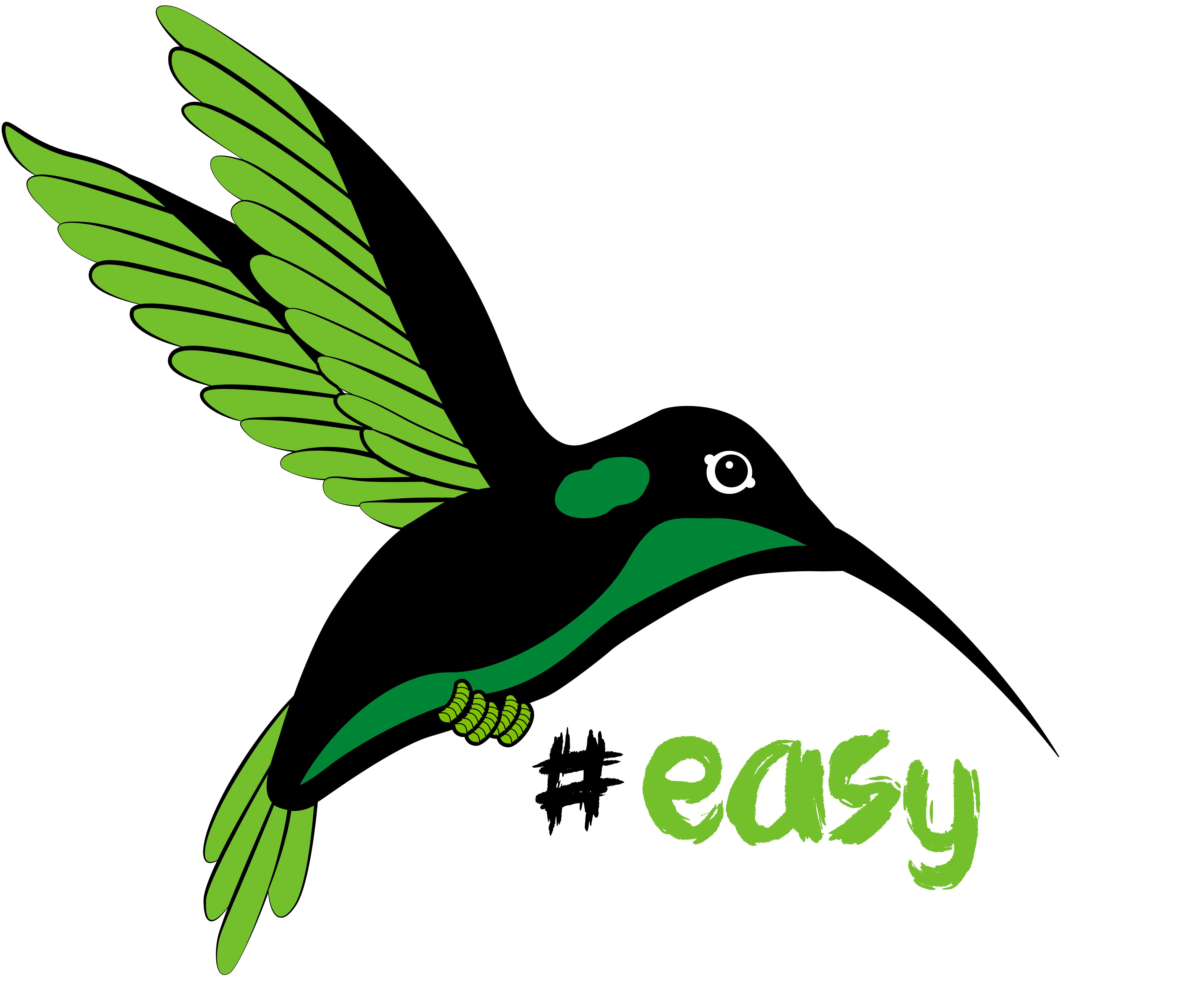 Разработка логотипа в виде хэштега #easy с зеленой колибри  фото f_2425d4db1f65ec91.jpg