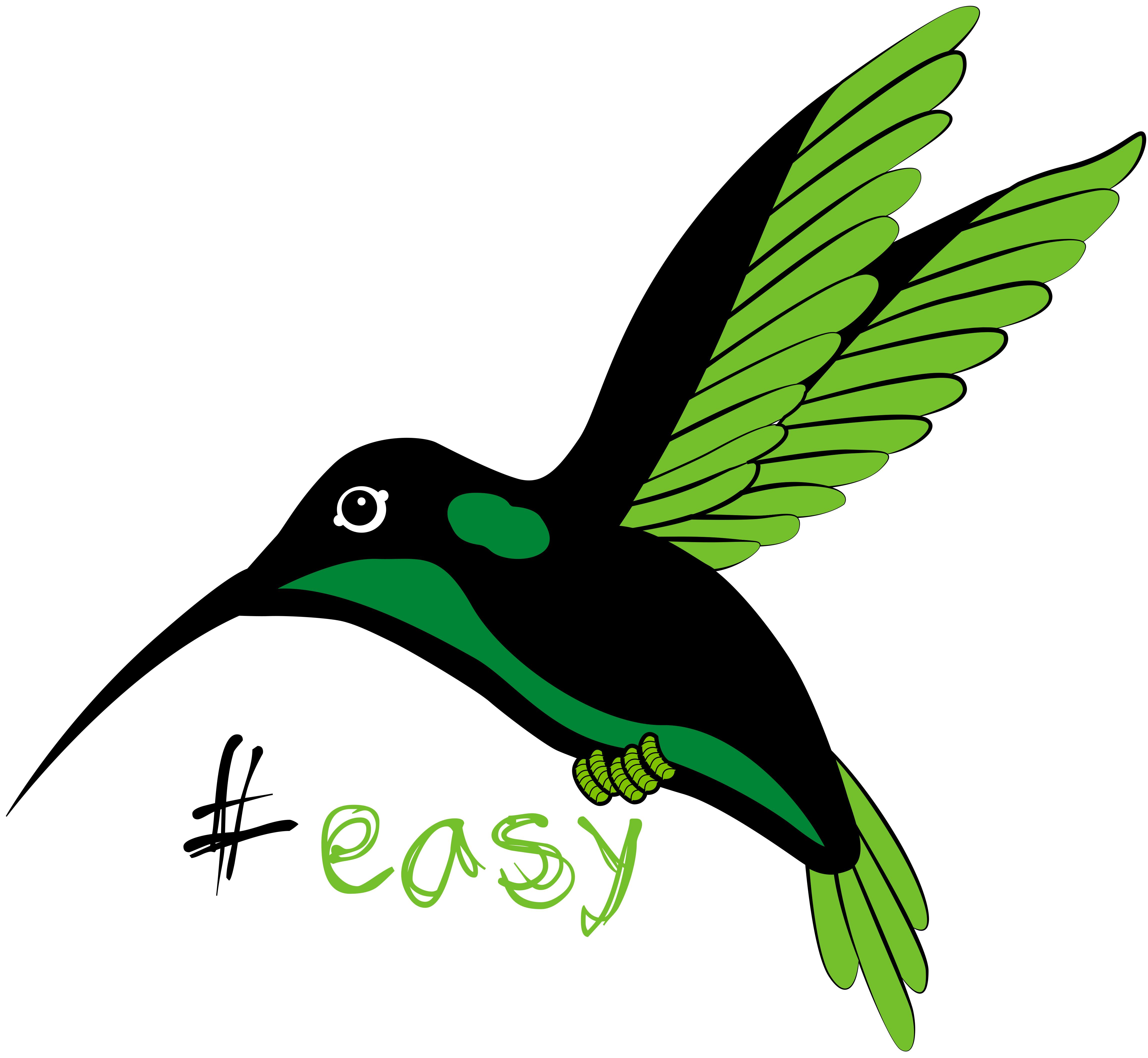 Разработка логотипа в виде хэштега #easy с зеленой колибри  фото f_3745d4db20756c7d.jpg
