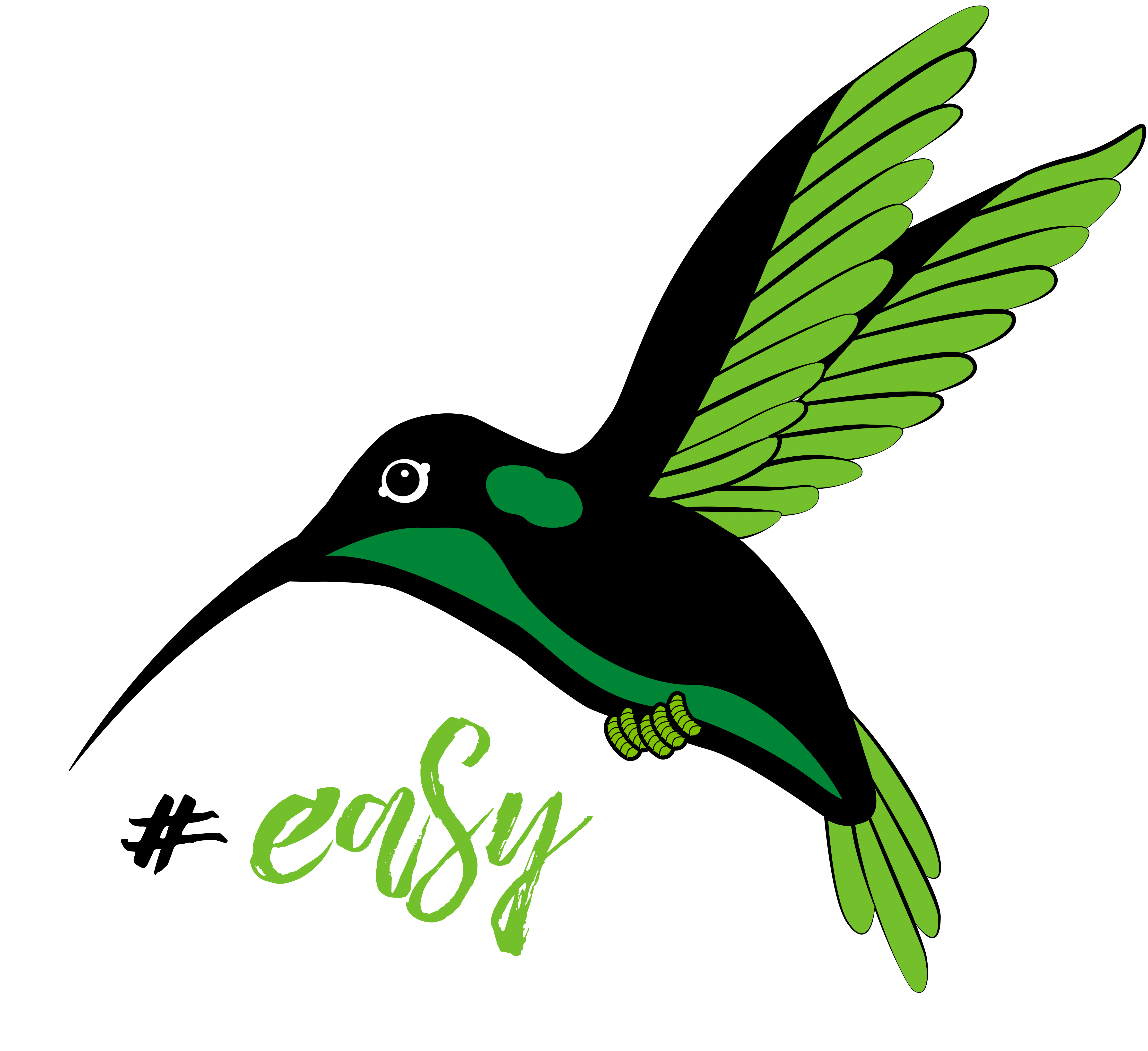 Разработка логотипа в виде хэштега #easy с зеленой колибри  фото f_5935d4db20162095.jpg