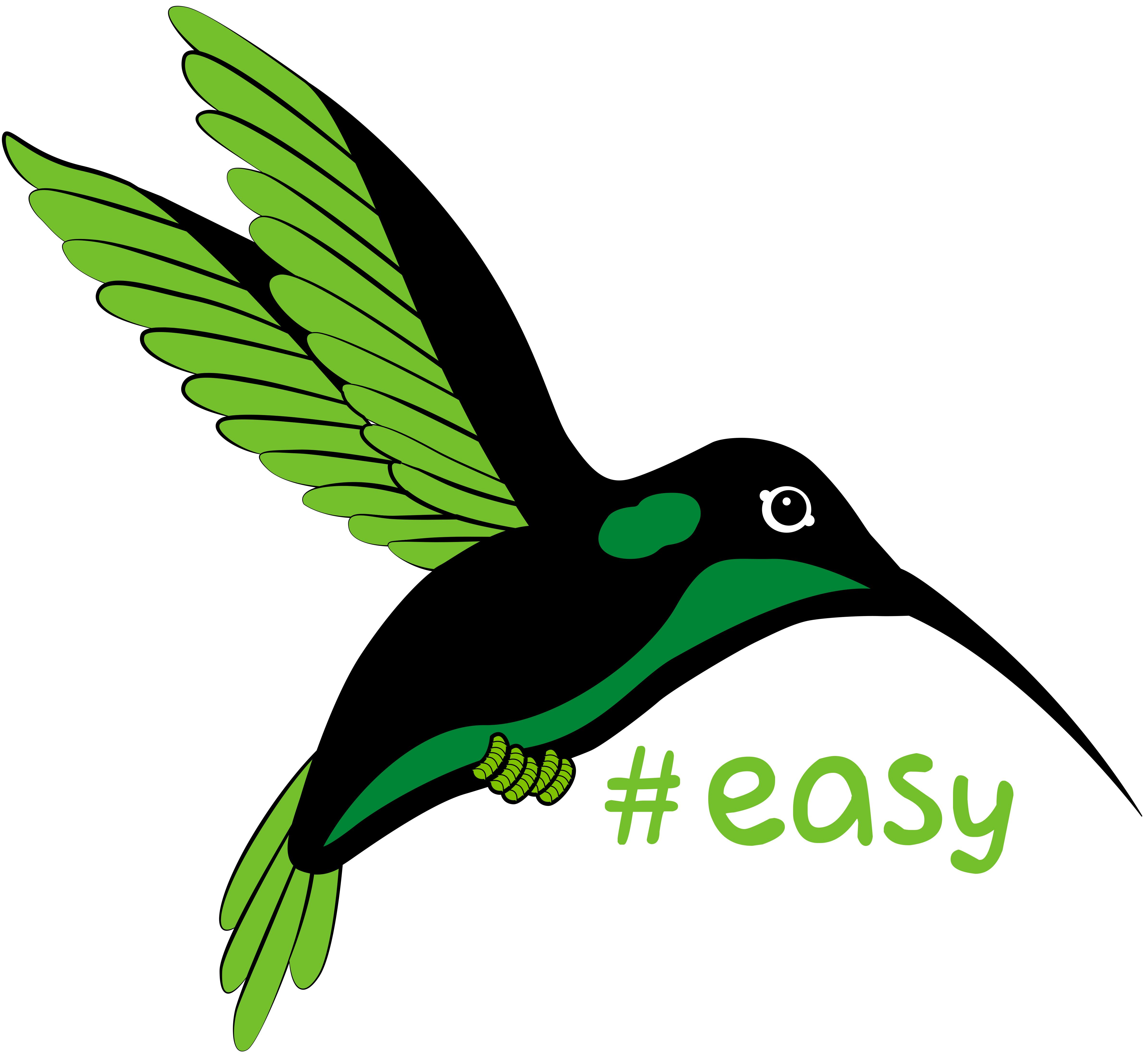 Разработка логотипа в виде хэштега #easy с зеленой колибри  фото f_7835d4db1fba19c6.jpg