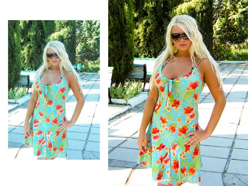 Блондинка Аня в платье с цветочками