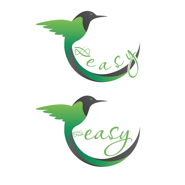 Разработка логотипа в виде хэштега #easy с зеленой колибри  фото f_5065d4f00bb09dff.jpg